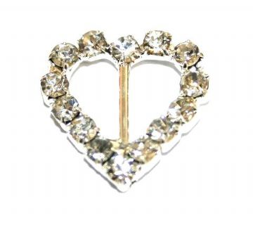 6pcs x 17mm*17mm silver plated heart ribbon slide with rhinestone